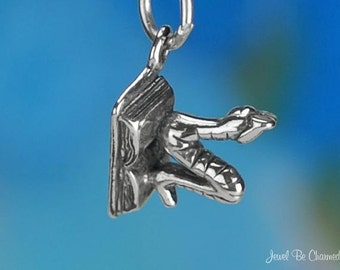 Sterling Silver Bookworm Charm Book Lover Reader Librarian Solid .925