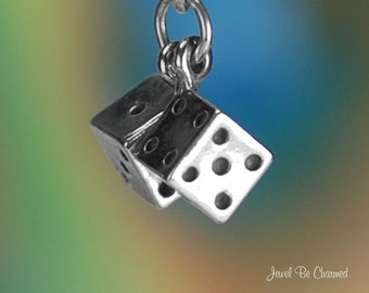 Dice Charm Sterling Silver Pair of Dice Gambling Movable 3D Solid .925