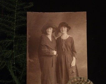 Great Antique Photo  - Two Women - Early 1900's - Wonderful Fashion - Sepia  - Vintage Photo - Victorian