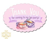 "Scallop Oval ""Thank You for Coming to my Tea Party"" Stickers Loralee Lewis"