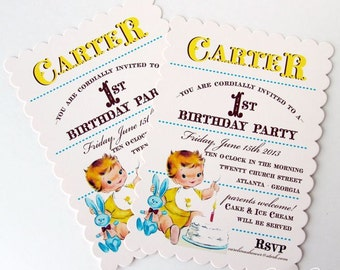 Vintage First Birthday Boy Invitations by Loralee Lewis
