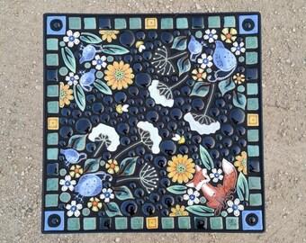 "16"" Square, garden mosaic tile table. Handmade ceramic fox, quail mosaic art tiles."