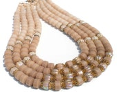 """Vintage Necklace in Champagne with Graduated Multi-Strand Molded Plastic Beads - Vintage Costume Jewelry Adjustable 16"""" 17"""" 18 """"19"""""""