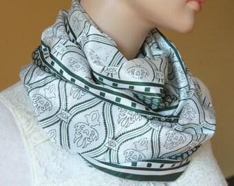 Scarf Beautiful Sari Scarf Versatile Upcycled VINTAGE Sari - floral green white - autumn winter accessories