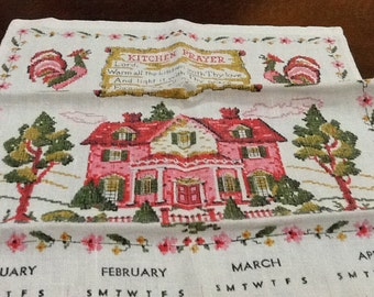 Vintage 1974 CALENDAR TOWEL Tea Towel Kitchen Prayer House
