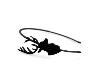Black headband with felt deer