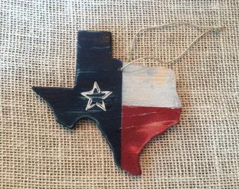 Rustic Texas Flag Christmas Ornament