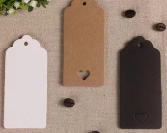 Kraft Paper Tags - 50pcs Kraft Tags Love Heart Tag Wedding Tags Hang Tags Gift Tags Brown Tag Plain Tags with Hole 9cm x 4cm