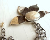 SALE - Earthy Fossil Coral Lilly Pendant - Artisan Necklace with Sterling Silver and Keishi Pearl, Unique Gift