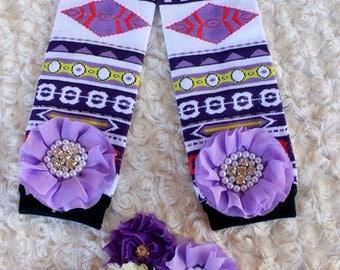 Native American Aztec Infant Baby Leg Warmer and matching beautiful headband with chiffon flowers and rhinestone headband