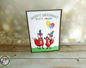 Birthday card Fox Party Animal Hand Made Red or Copper Brown Stock Balloons Party Hats Foxes