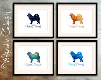 Alaskan Malamute - Watercolor Silhouette Collection from the Breed Collection - Digital Download Printable - Frameable 8x10