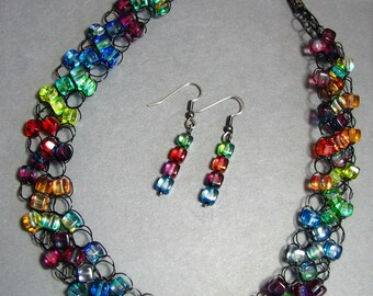 Adjustable Wire Crochet Necklace/Earring Set of Czech Glass