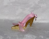 Pink and Gold High Heel Paper Shoe
