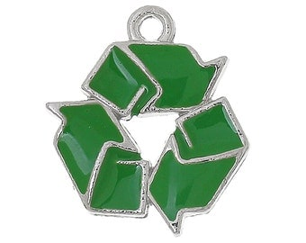 1 or 2 or 4 or 10 pcs. Silver Tone Green Enamel Recycle Reuse Reduce Charms Pendants - 21mm X 19mm