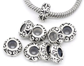 100 pcs Antique Silver Pattern Spacer Stoppers with Rubber - Fits European and Regular Cords - 11mm x 5mm