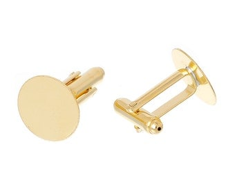 Lot of 24 Gold Plated Cuff Links (12 pairs) - 15mm Glue Pad