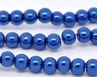 SALE - 10mm Dark Blue Glass Pearl Imitation Round Beads - 16 inch strand