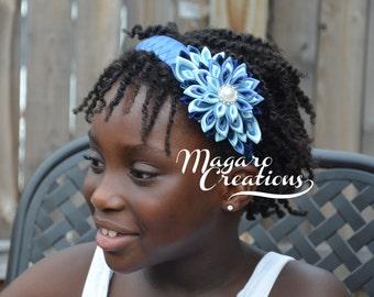 Blue headband,kanzashi,kanzashi headbands,girl hair accessory,girl headband,headband for girls,flower headband,flower girl headband.