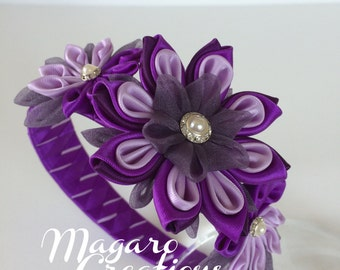 Purple headband,kanzashi,girl headband,headbands,flower headband,toddler headband,hair accessories,headband with flowers,girl hair accessory