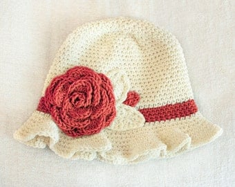 12 to 24m Crochet Sun Hat Baby Hat in Cream and Coral Red - Crochet Rose Flower Hat Cloche Hat Baby Girl Baby Flapper Girl Photo Prop Gift