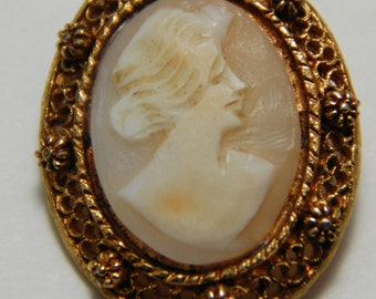 Vintage Cameo Set in Gold Metal Pin Brooch Setting