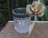 Vintage Metal Glass Flower Girl Basket