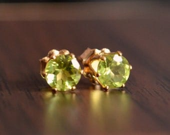 Peridot Stud Earrings, Genuine Gemstone, 5mm Real Stone, August Birthstone Jewelry, Gold Filled, Free Shipping