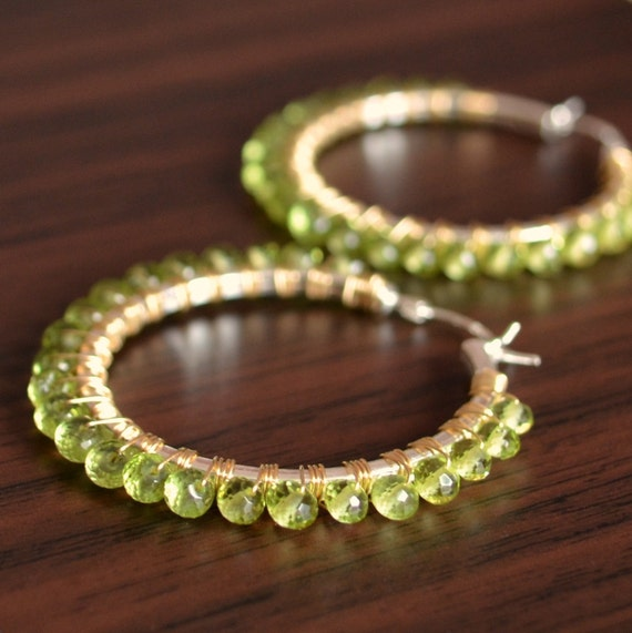 Peridot Hoop Earrings, Real Gemstones, Wire Wrapped Hoops, August Birthstone Jewelry, Sterling Silver Gold Mixed Metal, Free Shipping