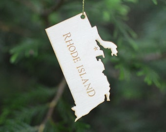 Natural Wood Rhode Island State Ornament