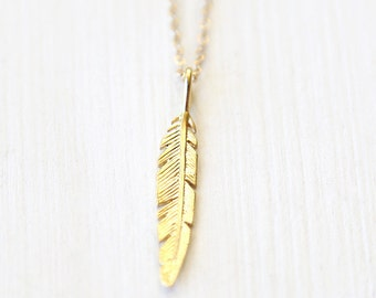 Long Gold Modern Feather Necklace // simple delicate unique jewelry // 14K gold filled chain