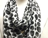 Black and Off White Print Sheer Infinity Scarf, Spring Summer Women Fashion Accessories, Mothers Day Gift, Christmas Gift Ideas