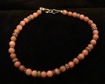 Rhodonite & Sterling Silver Bracelet