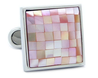 Square Mosaic Pink Shell Cufflinks