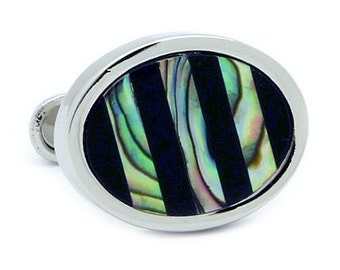 Oval Black Stripe Shell Cufflinks