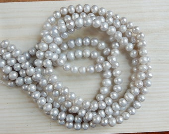 5-6mm Light Silver Gray, roundish  potato  freshwater pearl , FULL STRAND