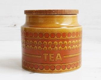 Vintage Tea Canister - Hornsea Saffron Pot Holder Kitchenware Pottery Orange Brown