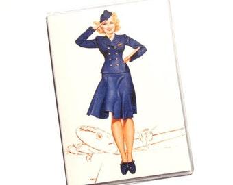 PASSPORT COVER - Saluting Stewardess, Vintage TWA Flight Attendant Advertisement - Passport Holder, Passport Case, Travel Gift Idea, Travel