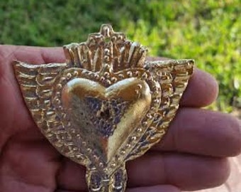 Large Sacred Heart With Wings Cross Milagros Ex voto Nicho Style Gold Tone