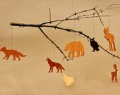 7 Wooden Animal Ornaments Mobiles Woodland Tags Moose Bear Deer Fox Wolf Turkey Owl Christmas Tree Decoration Wilderness Silhouettes Crafts