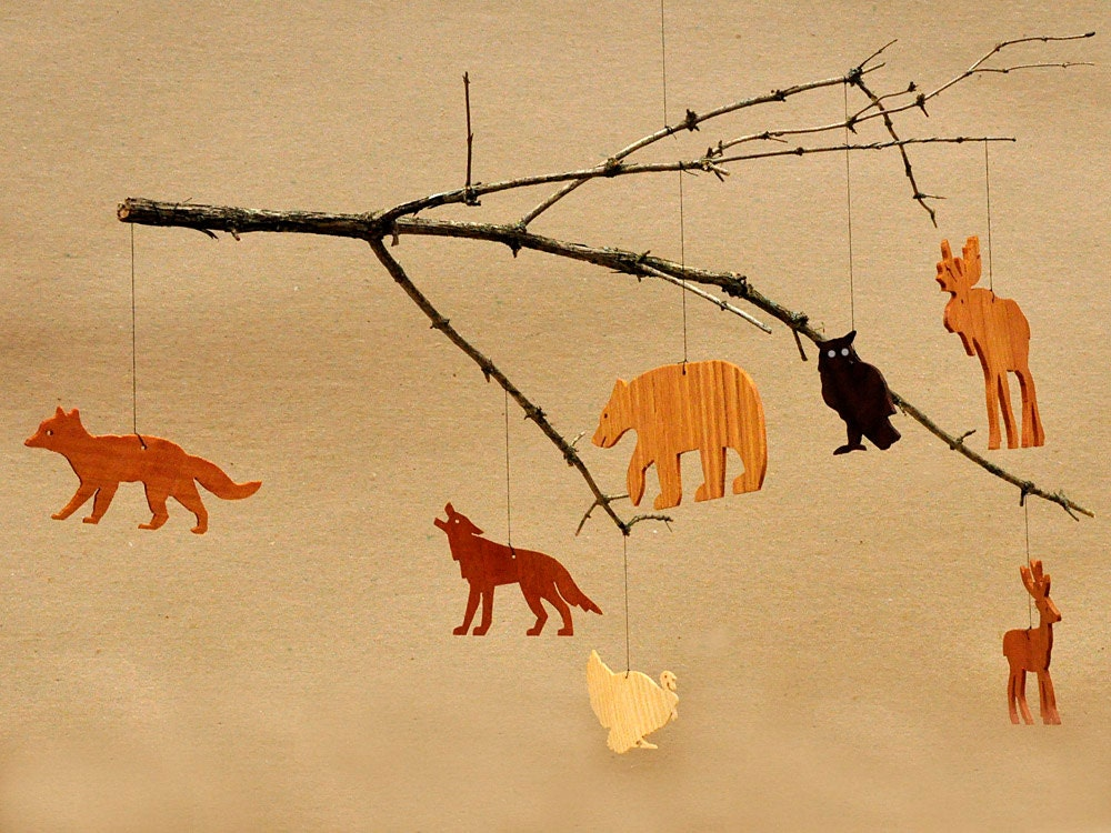 7 Wooden Animal Ornaments Mobiles Woodland Tags Moose Bear
