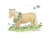 Pony Art- Girl's Horse Art- Pony Wall Art- Nursery Art- Baby Horse Print- Children's Art- Farm Nursery Decor Nursery PRINT little girls room