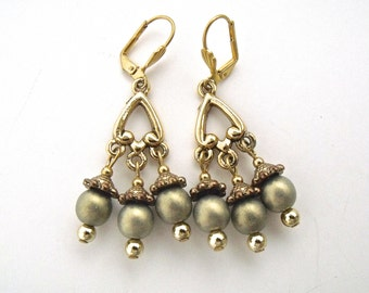 Czech glass dangle earrings, gold beaded drops, gold beaded jewelry
