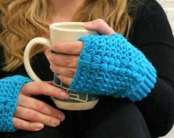 Texting Gloves - Blue Fingerless Mittens - Blue Fingerless Gloves