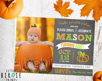PUMPKIN INVITATION First birthday Chalkboard Printable - Little Pumpkin Birthday Party Invitation - Fall First Birthday Invitation Pumpkin