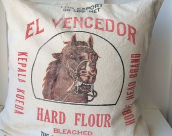 Vintage Grain Sack Pillow Cover El Vencedor
