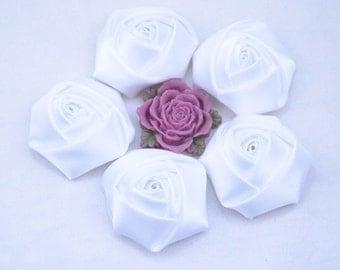 8 White roses / satin roses / ribbon flower / Satin Flowers / fabric flower / White Satin Rose Flowers 45x20mm