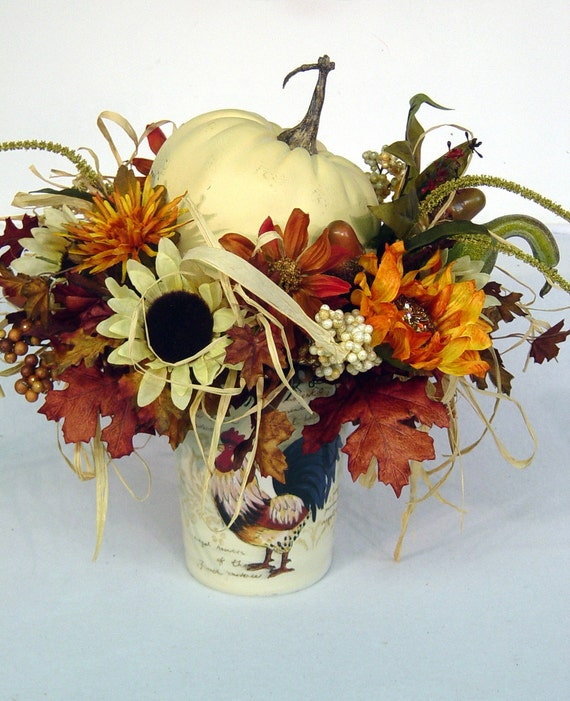Items Similar To Fall Rooster White Pumpkin Floral