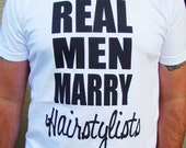 Hairstylist husband TEE- Real Men Marry/ Date Hairstylists Tee shirt - American Apparel Power Wash Tee -XS, S,M,L,XL, 2XL (7 color choices)
