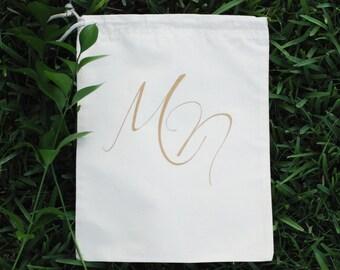 Custom Personalized Cotton Canvas Natural Drawstring Gold Monogram Shoe Bag, Lingerie Bag, Travel Bag, Wedding Bag, Bridesmaid Bag